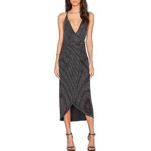 Bec&Bridge Magic Night Wrap Dress in Silver Stripe